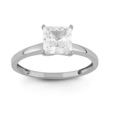 Womens 1 3/4 CT. T.W. Lab Created Asscher White Cubic Zirconia 10K Gold Engagement Ring