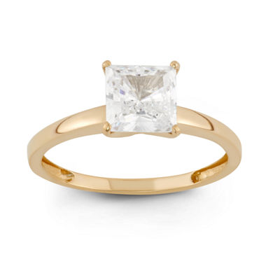 Womens 1 3/4 CT. T.W. White Cubic Zirconia 10K Gold Square Solitaire Engagement Ring