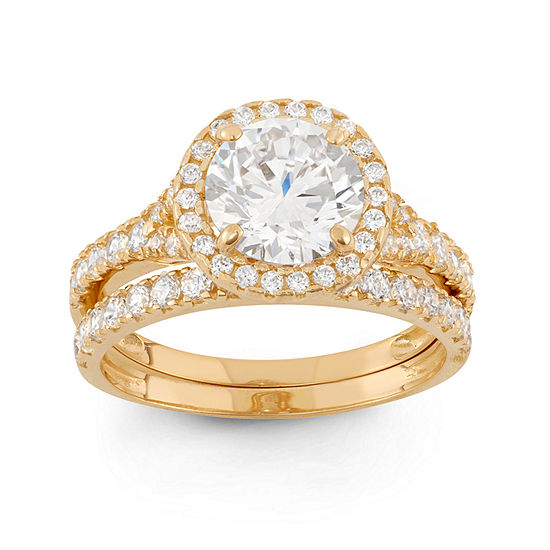 Womens 2 CT. T.W. White Cubic Zirconia 10K Gold Round Solitaire Engagement Ring