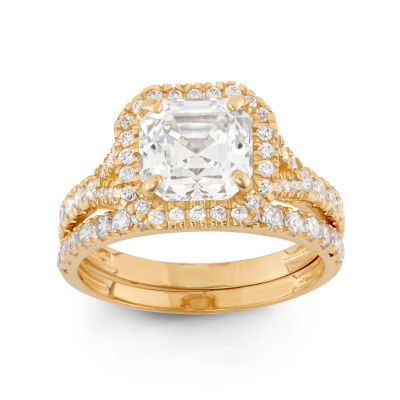 Womens 2 CT. T.W. Lab Created Asscher White Cubic Zirconia 10K Gold Engagement Ring