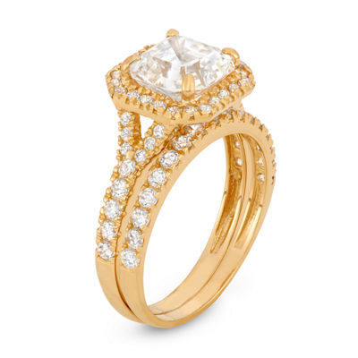 Womens 2 CT. T.W. White Cubic Zirconia 10K Gold Square Engagement Ring