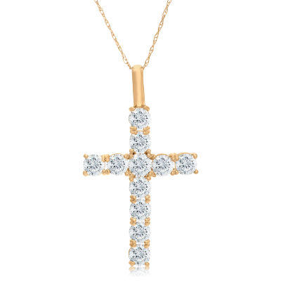 Womens 1 1/4 CT. T.W. White Cubic Zirconia 10K Gold Pendant Necklace