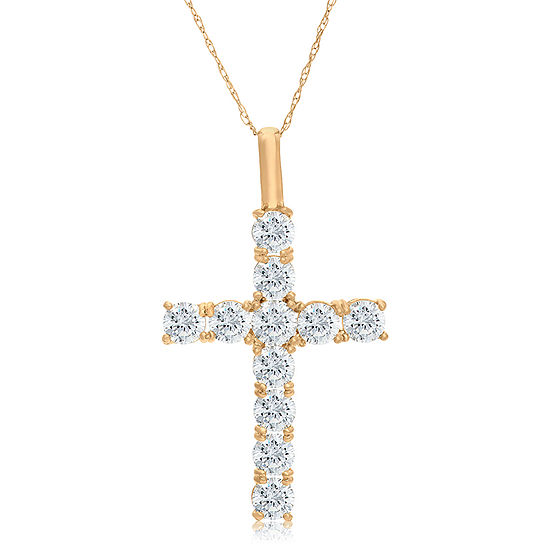 Womens 1 1/4 CT. T.W. White Cubic Zirconia 10K Gold Cross Pendant Necklace