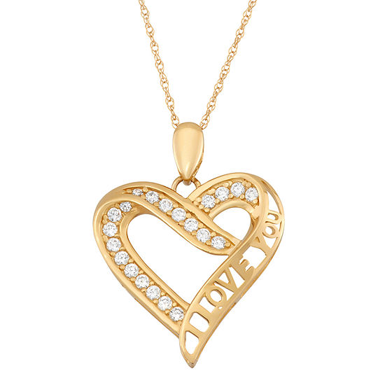 Womens 1 3 Ct Tw White Cubic Zirconia 10k Gold Heart Pendant Necklace