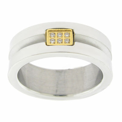 Mens 8mm White Cubic Zirconia Stainless Steel Round Band