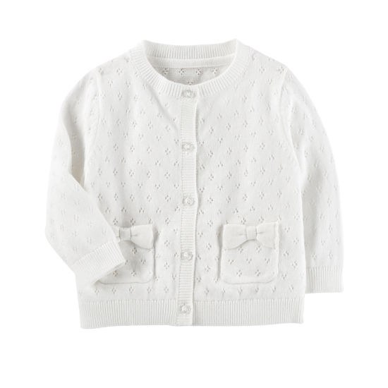 Oshkosh Long Sleeve White Cardigan - Baby Girls