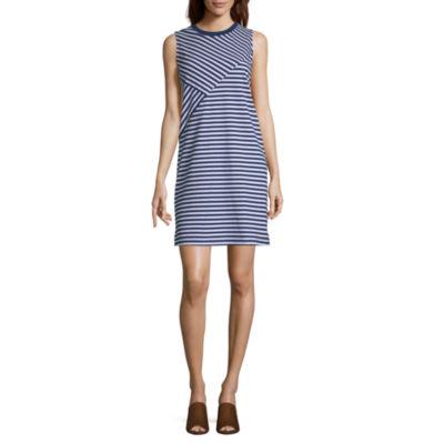 Liz Claiborne Weekend Short Sleeve Striped Shift Dress