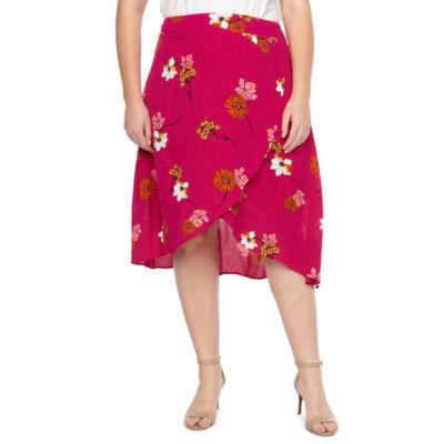 a.n.a Womens Wrap Front Midi Skirt - Plus