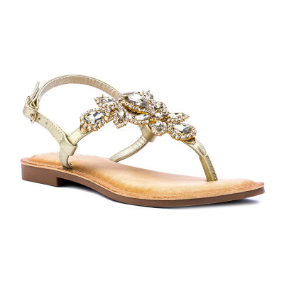 GC Shoes Womens Crystal Slingback Strap Flat Sandals