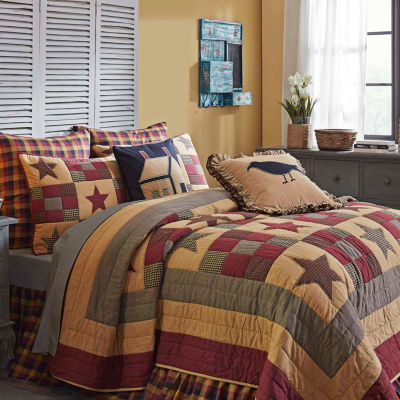 Ashton And Willow Cody Black Burgundy Reversible Quilt Set