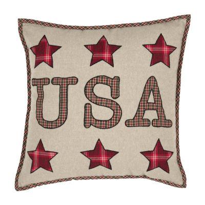 Ashton And Willow Liberty Stars Usa Applique 18x18 Throw Pillow