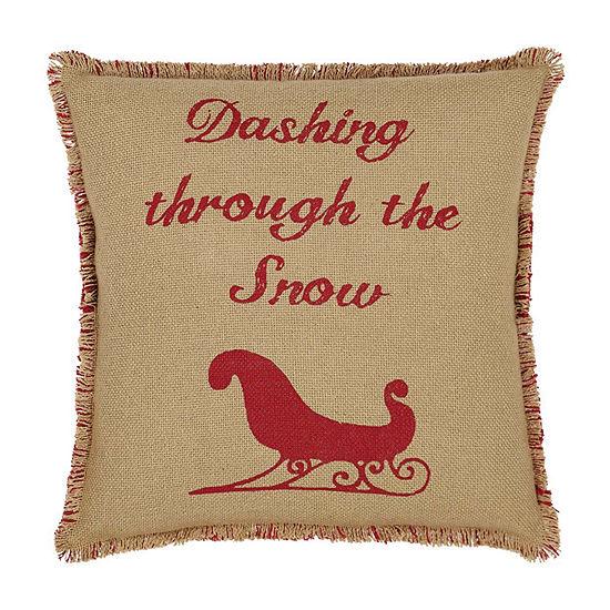 Ashton And Willow Natural & Red Burlap Sleigh 16x16 Throw Pillow