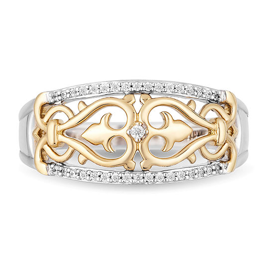 Enchanted Disney Fine Jewelry 2MM 1/10 CT. T.W. Genuine Diamond 14K Gold Over Silver Sterling Silver Aladdin Band