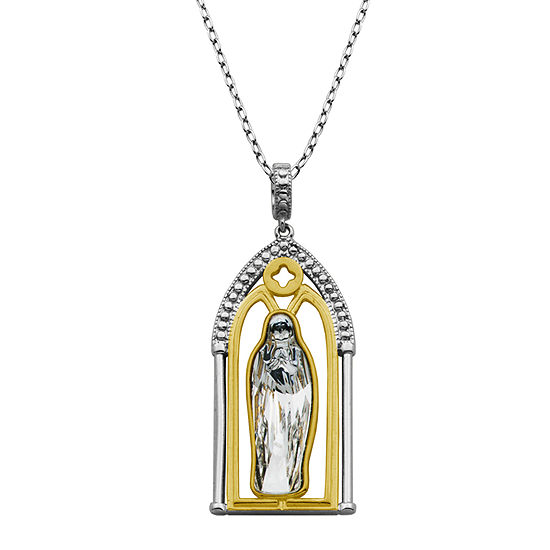 Womens Sterling Silver Religious Pendant Necklace Featuring Swarovski Crystal