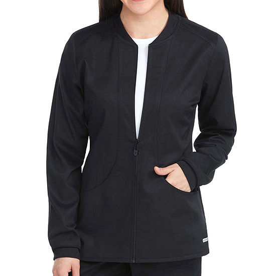 Med Couture Womens 7663 Zip Front Warm Up Scrub Jacket