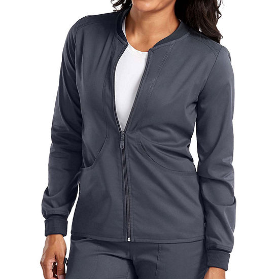 Med Couture Womens 7663 Zip Front Warm Up Scrub Jacket - Plus