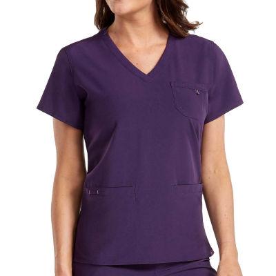 Med Couture Womens 8587 V-Neck 3 Pocket Scrub Top