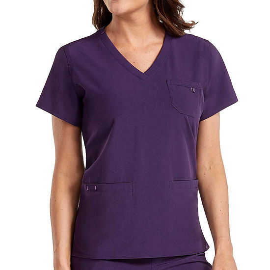 Med Couture Womens 8587 V Neck 3 Pocket Scrub Top