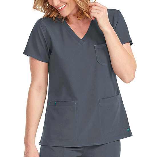 Med Couture Womens 8587 V-Neck 3 Pocket Scrub Top - Plus