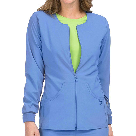 Med Couture Womens 8638 Zip Front Warm Up Scrub Jacket