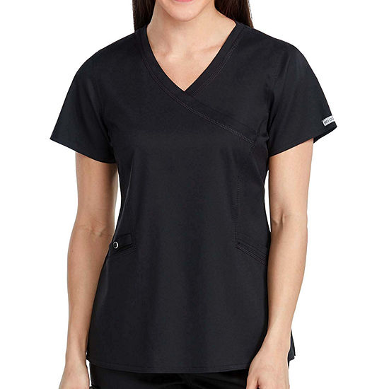 Med Couture Womens 7472 Mock Wrap V-Neck Scrub Top-Plus