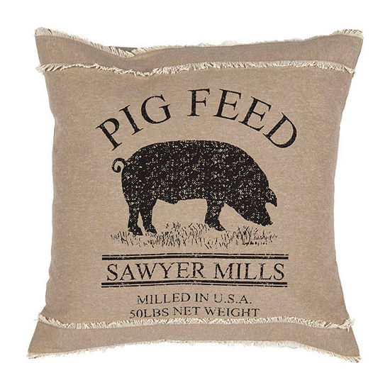 Ashton And Willow Miller Farm Pig 18x18 Throw Pillow