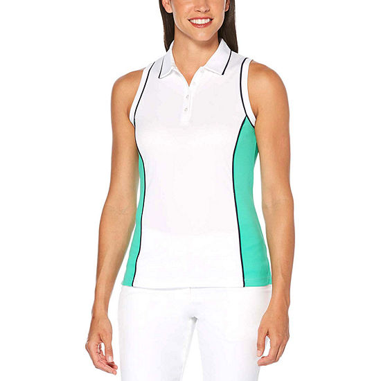 PGA TOUR Womens Y Neck Sleeveless Polo Shirt