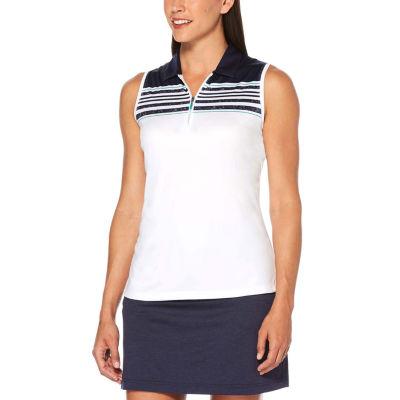 PGA TOUR Womens Collar Neck Sleeveless Polo Shirt