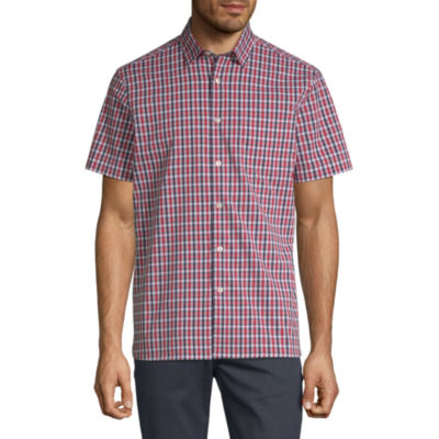 Axist Mens Short Sleeve Checked Button-Front Shirt