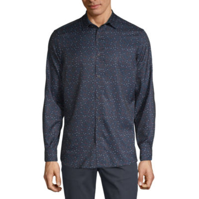 Axist Mens Long Sleeve Striped Button-Front Shirt