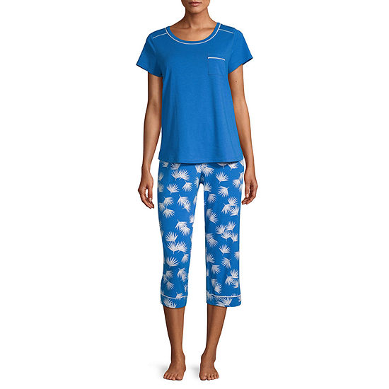 Liz Claiborne Womens 2-pc. Capri Pajama Set Short Sleeve Crew Neck