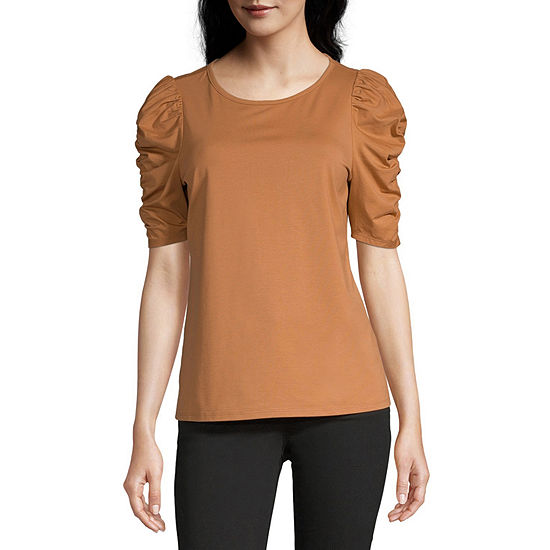 Worthington Womens Puff Sleeve Tee - Tall
