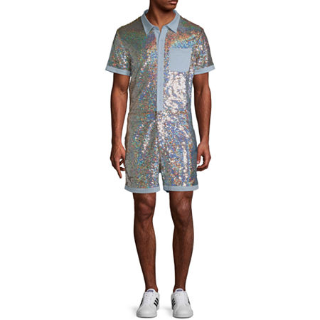 1970s Men's Clothes, Fashion, Outfits Sequin Short Sleeve Romper Small  Multiple Colors $26.19 AT vintagedancer.com