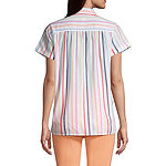St. John's Bay Womens Short Sleeve Regular Fit Button-Front Shirt