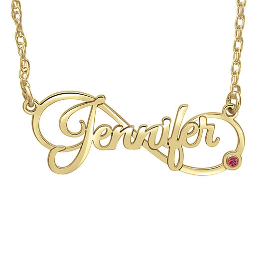 Personalized Womens Simulated Stone 24K Gold Over Silver Pendant Necklace