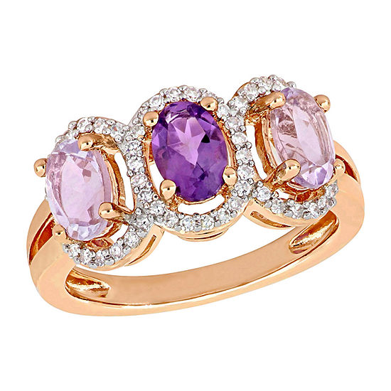Womens 1/5 CT. T.W. Genuine Purple Amethyst 18K Rose Gold Over Silver Cocktail Ring