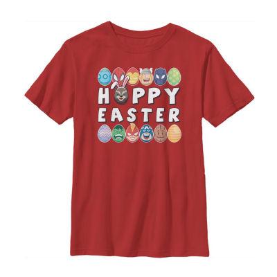 Happy Easter Hero Eggs Little/ Big Kid Boys Short Sleeve Marvel T-Shirt