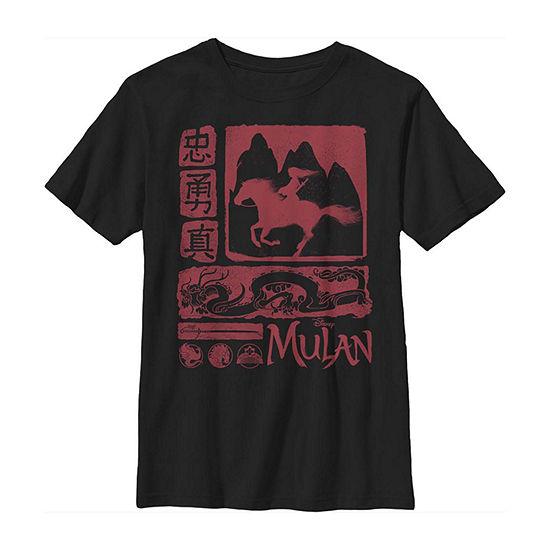 Character Silhouette Box Up Little Kid / Big Kid Boys Short Sleeve Mulan T-Shirt