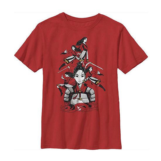 Many Warrior Poses Little Kid / Big Kid Boys Short Sleeve Mulan T-Shirt
