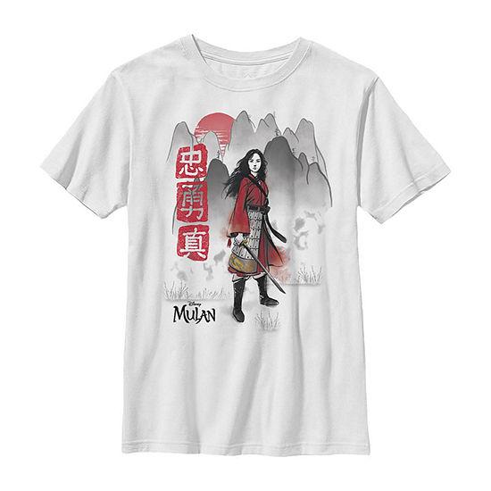 Loyal Brave True Watercolor Little /Big Kid Boys Short Sleeve Mulan T-Shirt