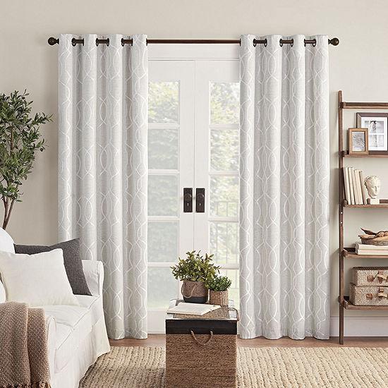 Eclipse Ambiance Lattice Draft Stopper Energy Saving 100% Blackout Grommet-Top Single Curtain Panel