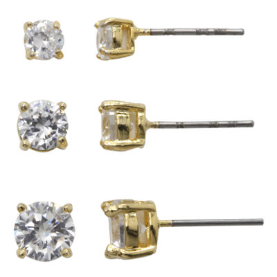 Sparkle Allure™ Cubic Zirconia 3-pr. Stud Earrings