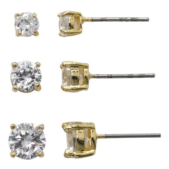 Sparkle Allure™ Cubic Zirconia 3-pr. Stud Earrings
