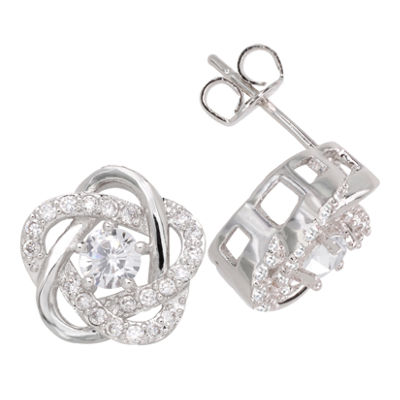 Sparkle Allure™ Pure Silver-Plated Cubic Zirconia Floral Earrings