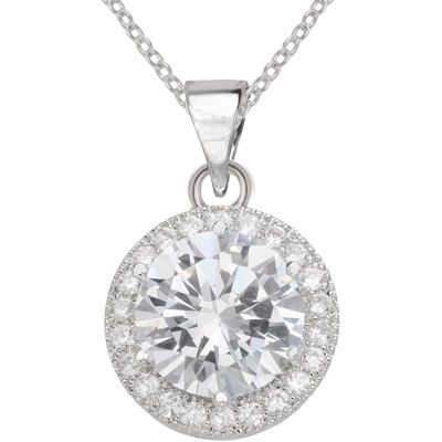 Sparkle Allure™ Pure Silver-Plated Round Cubic Zirconia Pendant Necklace