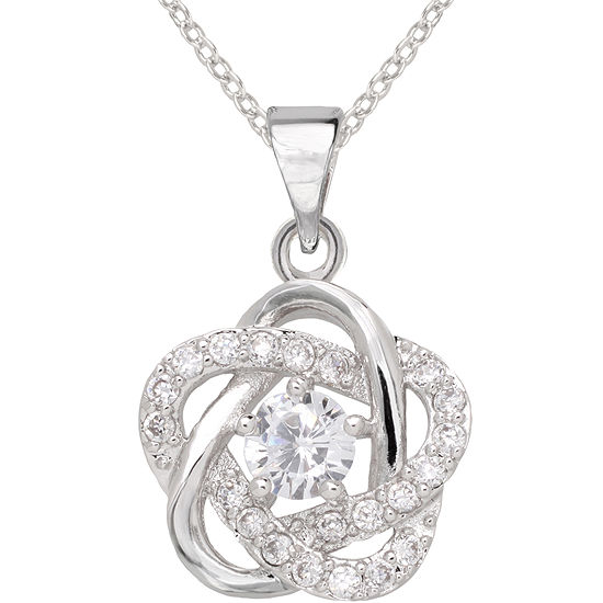 Sparkle Allure™ Pure Silver-Plated Cubic Zirconia Floral Pendant Necklace