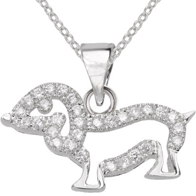 Cubic Zirconia Dog Pendant Necklace