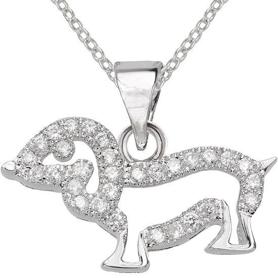 Cubic Zirconia Dog Pendant Necklace
