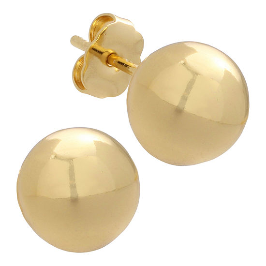 Polished Gold Over Brass Ball Stud Earrings