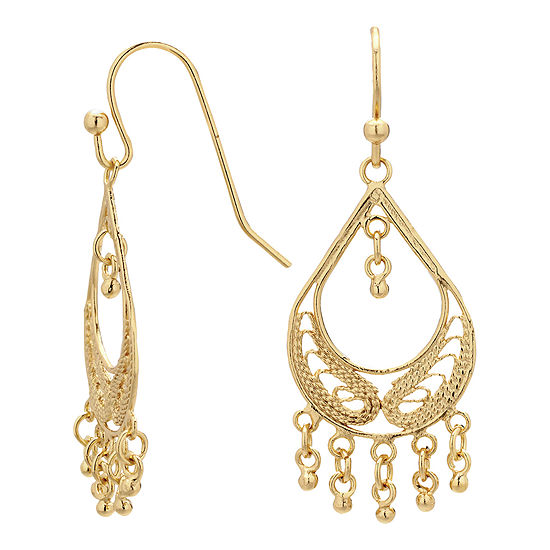 Silver Reflections™ Gold Over Brass Filigree Fringed Teardrop Chandelier Earrings